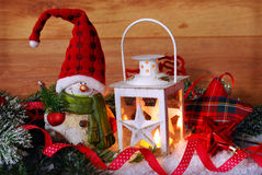 Christmas vintage lantern in snow at wooden background Royalty Free Stock Photo