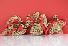 Christmas vintage natural rope heart, angel and star decorations. Stock Photo