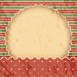 Christmas vintage paper background or frame. Red and green classic style. Dots with stripes vector illustration