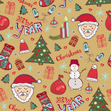 Christmas vintage pattern. New year whimsical seamless background for wrapping or textile decoration. Royalty Free Stock Image