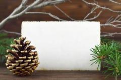 Christmas Vintage photo frame and pinecone Stock Photos