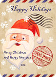 Christmas vintage postal greeting card with Santa Claus face. vector illustration