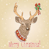 Christmas vintage postcard with deer Stock Image
