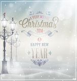 Christmas vintage Poster. Royalty Free Stock Photos