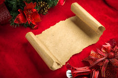 Christmas vintage scroll on red background Royalty Free Stock Image