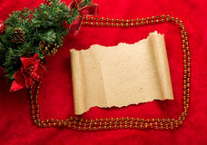 Christmas vintage scroll on red background Stock Photo