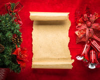 Christmas vintage scroll on red background Royalty Free Stock Photography