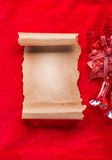 Christmas vintage scroll on red background Stock Image