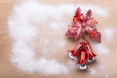 Christmas vintage scroll on red background Royalty Free Stock Images