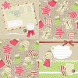Christmas vintage set. Christmas vintage backgrounds and cards.  set Stock Photo