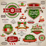 Christmas vintage set. Labels, ribbons and other decorative elements. Vector illustration Stock Images