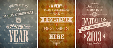 Christmas vintage set. Retro greeting cards. Vector illustration Royalty Free Stock Photos