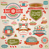 Christmas vintage set. Labels, ribbons and other decorative elements. Vector illustration Royalty Free Stock Photo