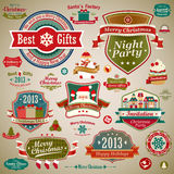 Christmas vintage set. Labels, ribbons and other decorative elements. Vector illustration Royalty Free Stock Photography