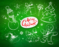 Christmas vintage set with festive objects Royalty Free Stock Photo