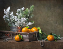 Christmas vintage still life with tangerines Stock Photography