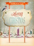 Christmas Vintage street with Signboard. EPS 10 Stock Image