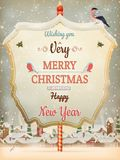 Christmas Vintage street with Signboard. EPS 10 Royalty Free Stock Images
