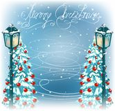 Christmas vintage streetlamps and fur trees Stock Photography