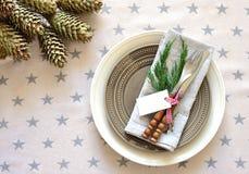 Christmas vintage table setting Royalty Free Stock Image