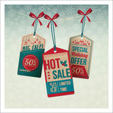 Christmas vintage tags with discounts Royalty Free Stock Images