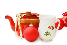 Christmas vintage teapot with clipping path Royalty Free Stock Images