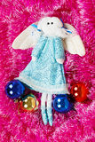 Christmas vintage toy flying angel made of a fabric Royalty Free Stock Photography