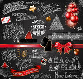 2014 Christmas Vintage typograph design elements. Vintage labels. ribbons, stickers, baubles and gift boxes, birds, liquid drops, swirls and so on Royalty Free Illustration