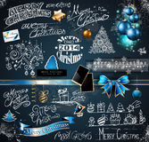 2014 Christmas Vintage typograph design elements:. Vintage labels. ribbons, stickers, baubles and gift boxes, birds, liquid drops, swirls and so on Royalty Free Stock Image