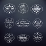 Christmas Vintage Typography Vector Badges Set on Royalty Free Stock Photos