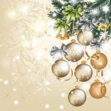 Christmas vintage vector greeting card with baubles Stock Images