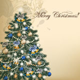 Christmas vintage vector greeting card with Xmas tree Stock Images