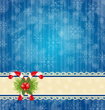 Christmas vintage wallpaper with sweet cane Stock Image