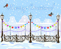 Christmas vintage winter city with decorations Royalty Free Stock Photos
