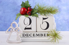 Christmas Vintage Wood Calendar Stock Images
