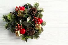 Christmas vintage wreath on stylish rustic white wooden backgrou Royalty Free Stock Photography