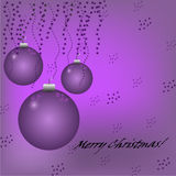 Christmas violet background with balls, stars and  Royalty Free Stock Image