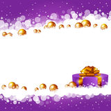 Christmas violet background with a gift box. An editable vector illustration of a Christmas violet background with a gift box Royalty Free Stock Photography