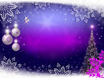 Christmas violet background with Christmas tree, balls and snowflakes. Christmas festive purple background with Christmas tree, balls, sparkles and snowflakes Stock Photography