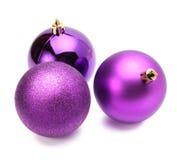 Christmas violet balls Stock Photos