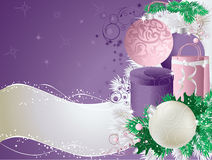 Christmas violet card Stock Photos