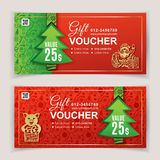 Christmas voucher for business. Green red background for department stores, business. Portrait of Santa Claus and Pig stock photography