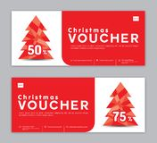 Christmas Voucher, Sale banner template, Horizontal christmas posters, cards, headers stock illustration