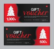Christmas Voucher, Sale banner template, Horizontal christmas posters, cards, headers vector illustration