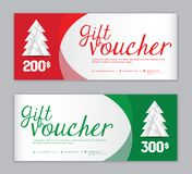 Christmas Voucher, Sale banner template, Horizontal christmas posters, cards, headers, website, red and green background, vector stock illustration