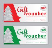 Christmas Voucher, Sale banner template, Horizontal christmas posters, cards, headers, royalty free illustration