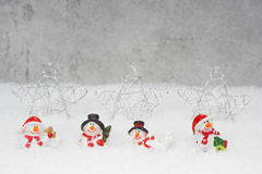 Christmas voucher with snowmen Royalty Free Stock Images