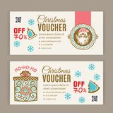 Christmas voucher template. Santa inside badge. Turquoise red on light background for department stores, business. royalty free stock photography