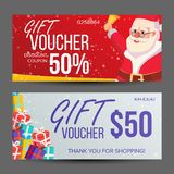 Christmas Voucher Vector. Horizontal Banner. Merry Christmas. Santa Claus And Gifts. End Of The Year Advertisement. Cute royalty free illustration