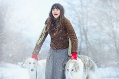Christmas walk. Beautiful surprised woman in winter clothes with greyhound dogs graceful winter background with snow, emotions. po Royalty Free Stock Photos